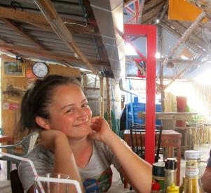 Smiley kitchen girl