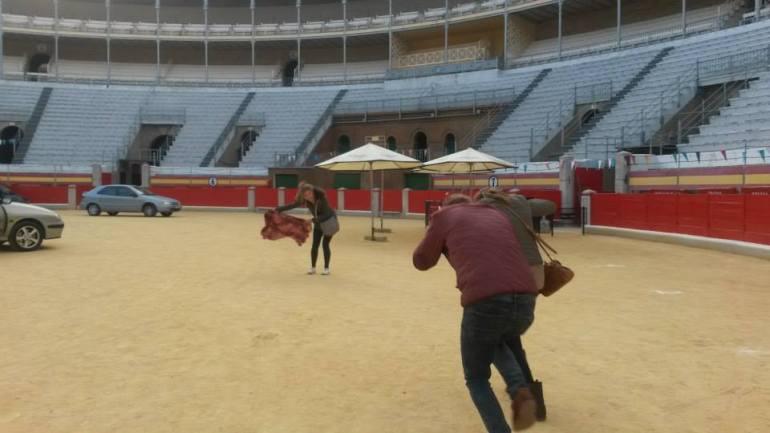 Nic and Josh playing matador